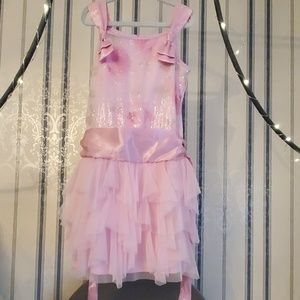 Pink Biscotti Tulle Layered Sequin Bow Dress